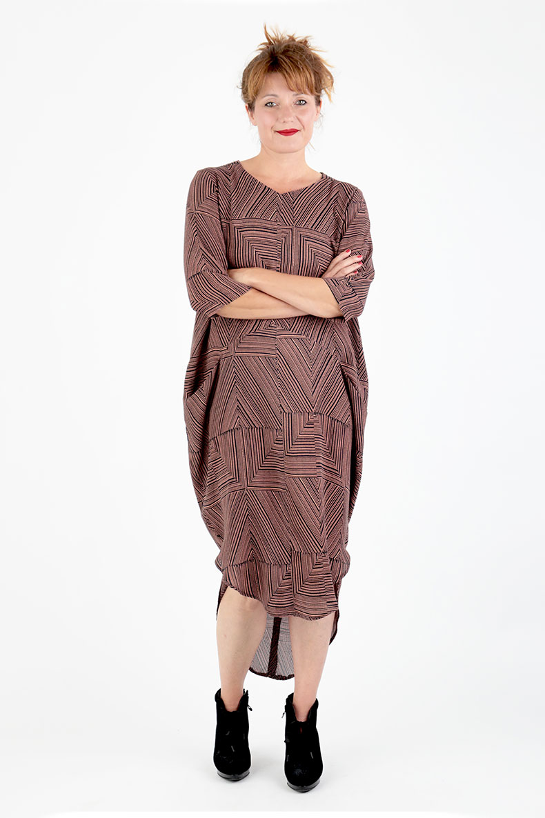Sewing Pattern Cocoon Dress Trine - made with a beautiful viscose crepe by Lotte Martens