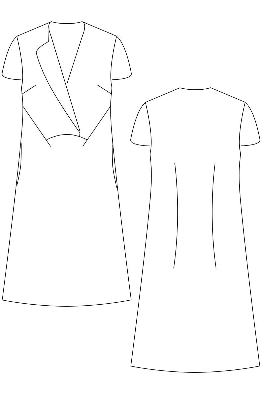 Technische Zeichnung Schnittmuster Kleid Joy - Variante mit kurzen Ärmeln