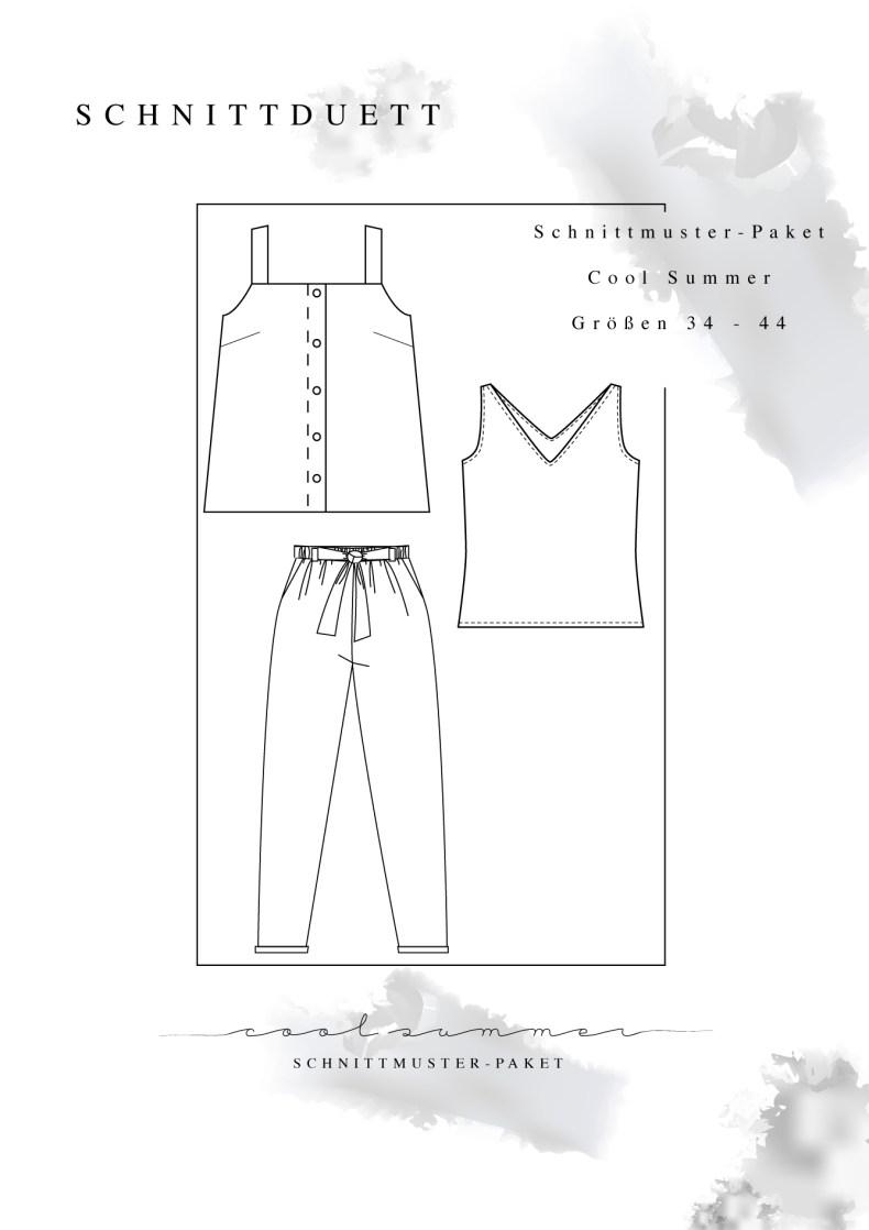 """Schnittmuster Paket """"Cool Summer"""" - Schnittmuster Hose Wrapped, La Sole Cami und La Sole Jersey Cami im Set nähen - Schnittduett - Moderne Schnittmuster für Damen zum Selbernähen"""