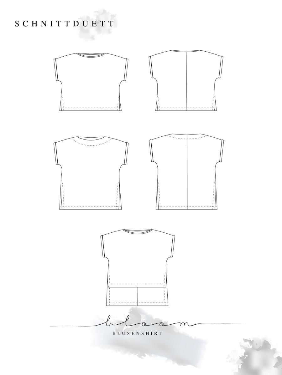 Schnittmuster Blusenshirt Bloom - Technische Zeichnung - Schnittduett moderne Schnittmuster für Damen