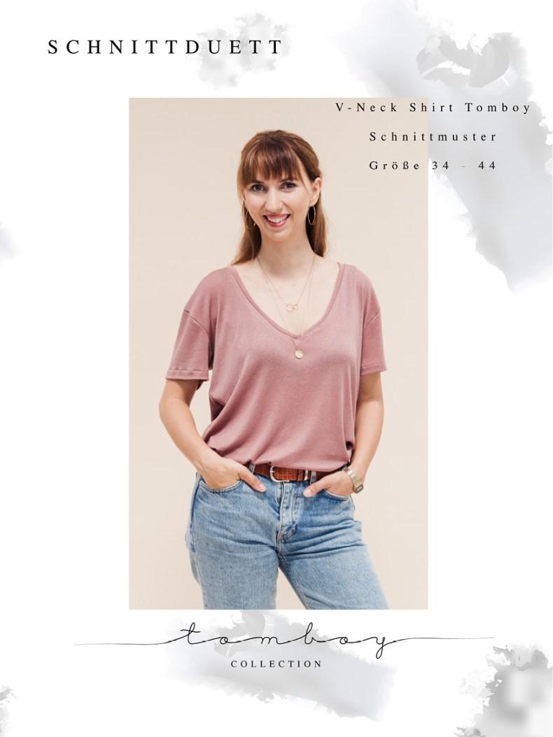 T-Shirt mit V-Ausschnitt nähen mit dem Schnittmuster V-Neck-Shirt Tomboy von Schnittduett - Tomboy Schnittmuster T-Shirt mit V-Ausschnitt für Damen - T-Shirt mit V-Ausschnitt nähen - Schnittduett moderne Schnittmuster