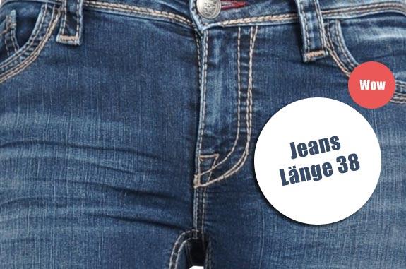 Jeans in Länge 38 für Frauen. Extralang.
