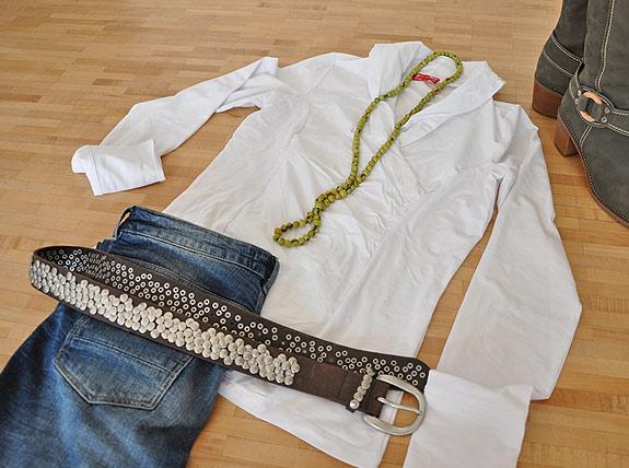 Langarm Blusenshirt in weiß von Pett Moden in Xtra lang für große Mädels
