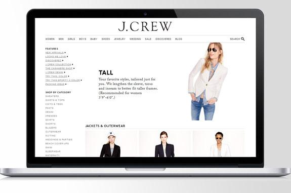 J. Crew Online Shop mit Tall Abteilung