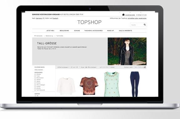 Topshop: Online Shop mit tall Größen