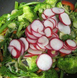 6 add thinly sliced radishes