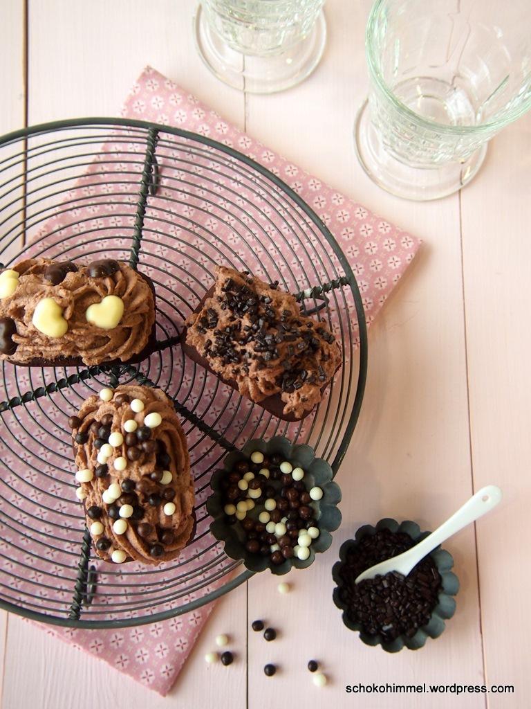 Schoko-Cupcakes von oben