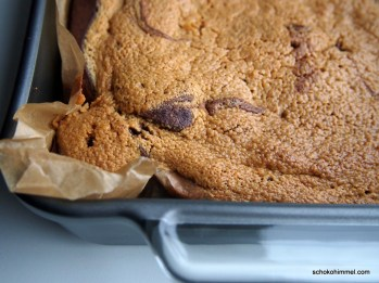 Erdnussbutter-Brownies in der Backform