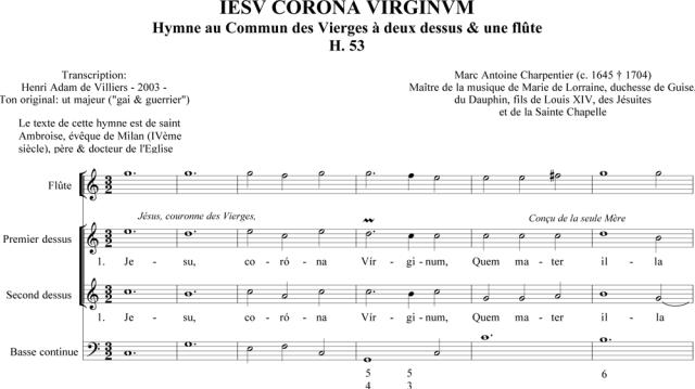 Marc-Antoine Charpentier : Iesu Corona Virginum (H. 53)