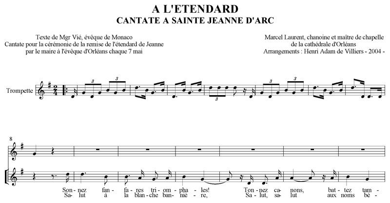 Chanoine Marcel Laurent - Cantate à sainte Jeanne d'Arc : A l'Etendard