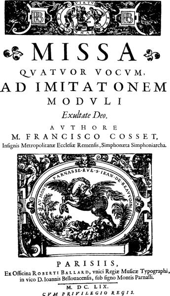 Missa Exsultate Deo de François Cosset - Frontispice de l'édition de 1659 par Ballard