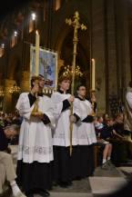 14 - Messe de départ célébrée par M. l'Abbé Iborra dans Notre-Dame-de-Paris - vigile de la Pentecôte - procession de sortie - les grands clercs de Saint-Eugène