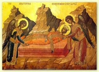 Le corps de sainte Catherine enseveli au sommet du Sinaï par les Anges