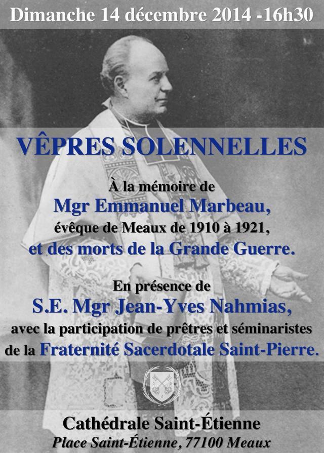 Vêpres solennelles à la cathédrale de Meaux en mémoire de Mgr Emmanuel Marbeau