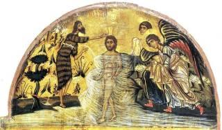 Fête de la Théophanie - baptème du Christ au Jourdain - tryptique de Sainte-Catherine du Sinaï - XIIème siècle