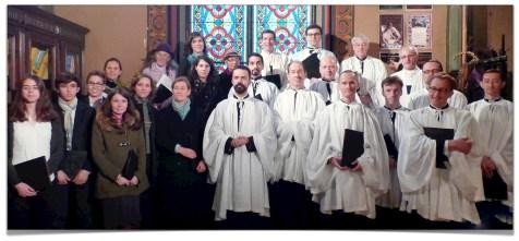 La Schola Sainte Cécile après la messe des Rameaux.