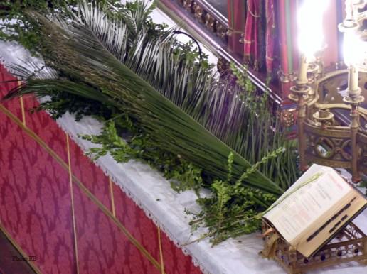 Rameaux 2015 - 01 - les palmes sur l'autel avant la messe