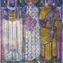 Saint Démétrios avec les fondateurs de l'église - mosaïque du VIIème siècle
