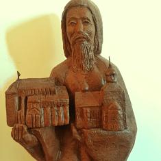 Chevetogne - saint Benoît tenant l'église byzantine et l'église latine de Chevetogne