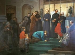 Gounod embrassant les missionnaires