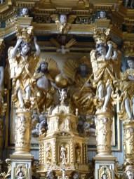 Peisey-Nancroix, église de la Trinité : retable majeur, détail : partie centrale du retable.