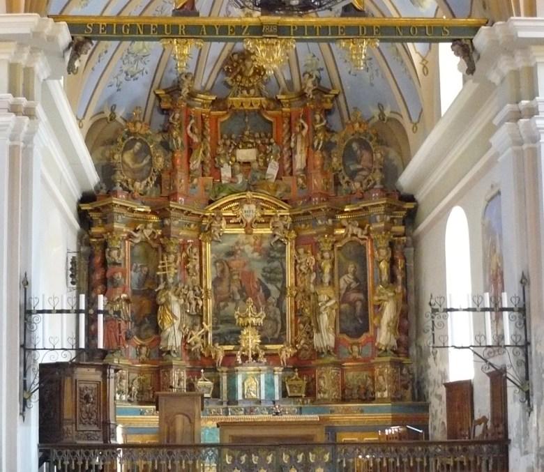Hauteville Gaudon : Le retable de l'autel majeur de l'église Saint-Martin
