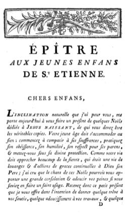 """Noël de Lully : épître dédicatoire de l'édition de 1779 des """"Noëls en françois a l'honneur de Jésus naissant, en faveur des enfants de Saint-Etienne""""."""