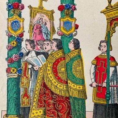 Les chantres en chapes de la procession de la Fête-Dieu. Imagerie d'Epinal, XIXème s