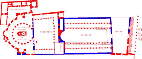 Plan de la basilique constantinienne (Martyrium et Anastasis)