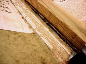 Detached spine from A page from William Sanders Scarborough's scrapbook