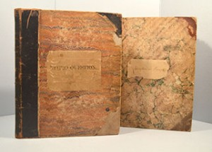 Two of the Scott family scrapbooks that were treated