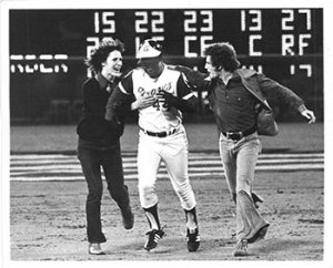 Ron Sherman, Hank Aaron rounding the bases for his 715th home run, April 8, 1974.