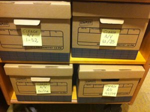Boxes of audiovisual material from the Pearl Cleage papers