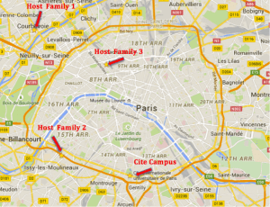 I have stayed with 3 homestays and lived in the Cité Universitaire over the past 5 years. [image souce: Google maps]