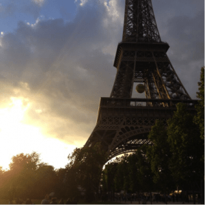 Sunset at the base of the Eiffel Tower at 9:35pm on May 26th, 2015
