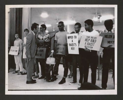 Black students protest in the chapel in 1969.