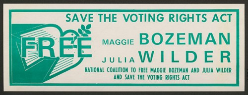 Bumper sticker, National Coalition to Extend the Voting Rights Act. From the SCLC papers, Rose Library, Emory University.