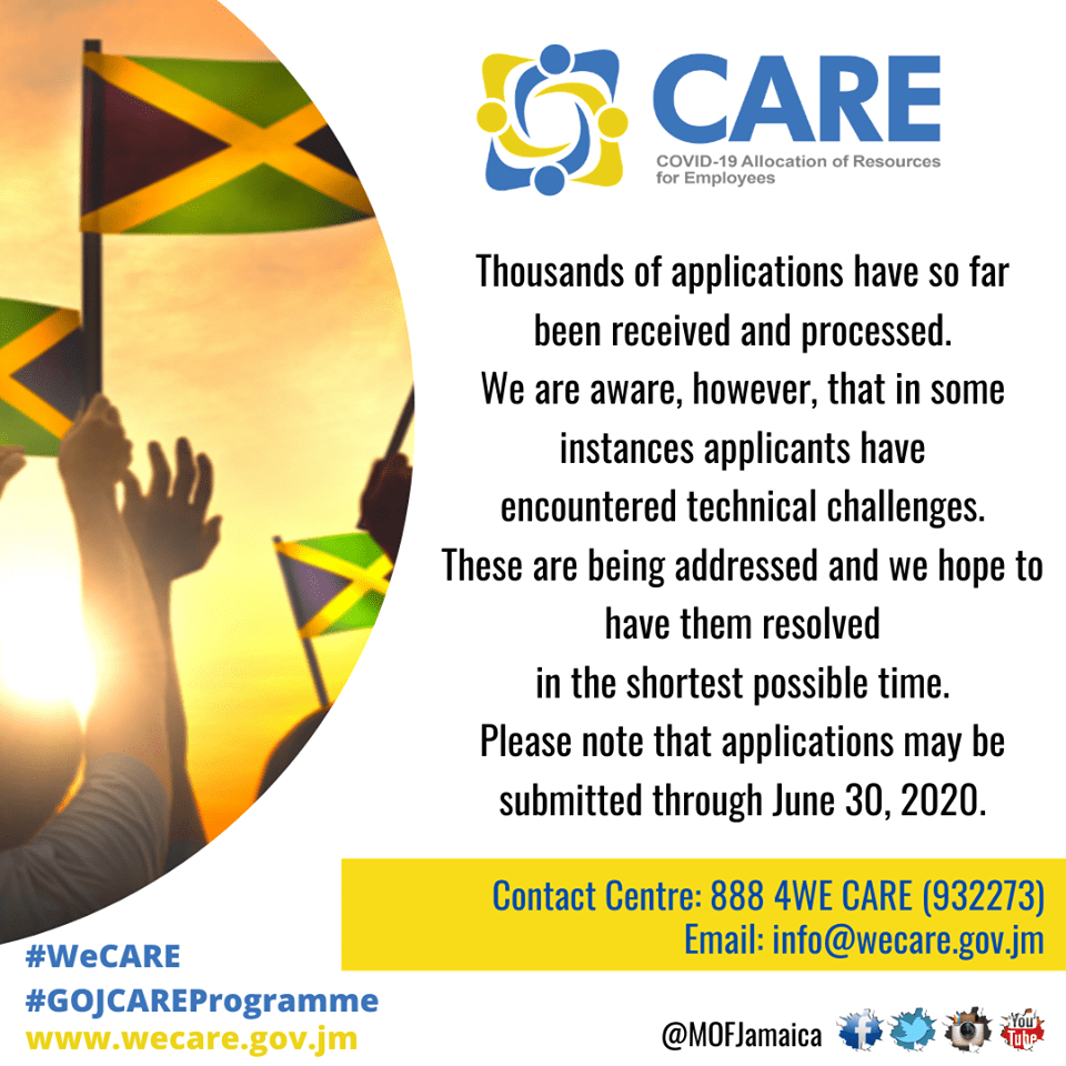 As at 2:35pm, Thursday April 9, 2020 the COVID-19 Assistance Programme (CARE Programme) received 71,182 completed applications where confirmation numbers have been sent to applicants.