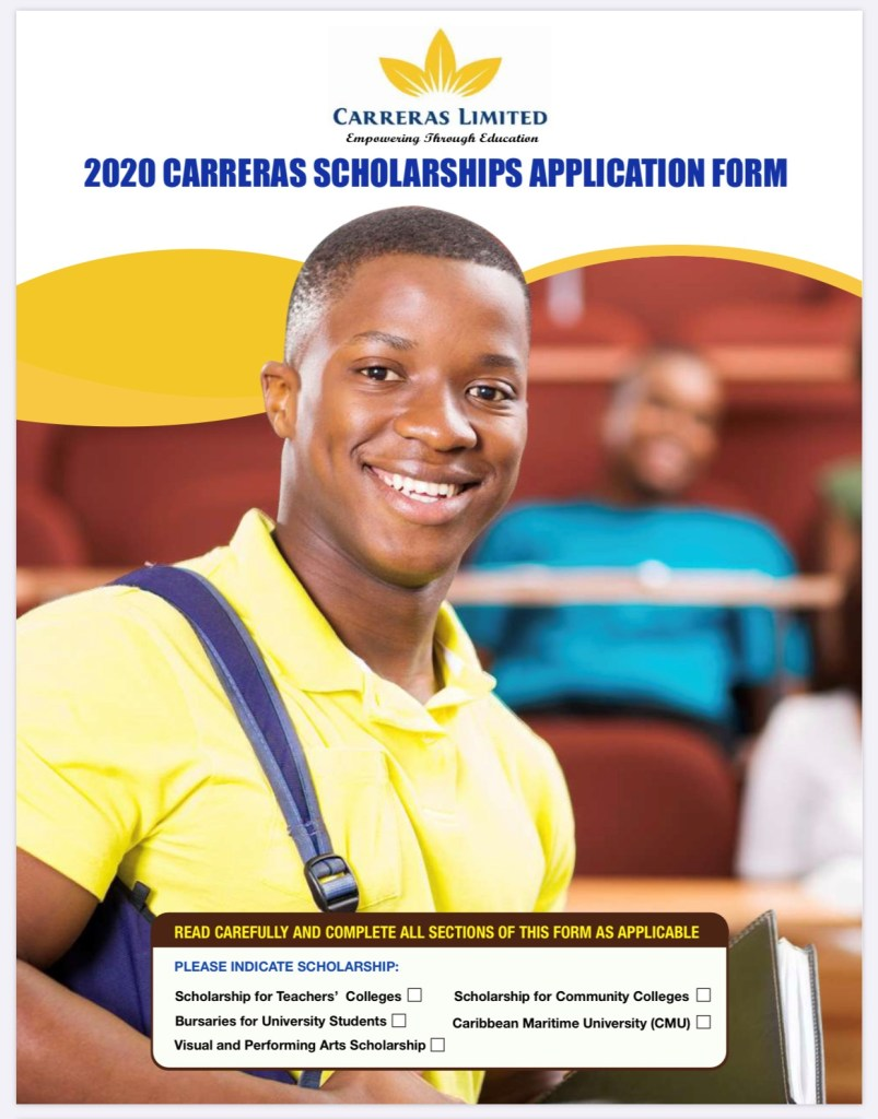 Applications are invited for the 2020 Carreras Bursaries for University students with awards valued at fifty thousand dollars (J$50,000) each. This amazing scholarship opportunity closes Friday, June 12, 2020. Contact us for application assistance.