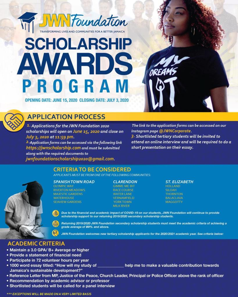 JWN Foundation scholarship program is accepting online applications for community scholarships from secondary & tertiary students by July 3.