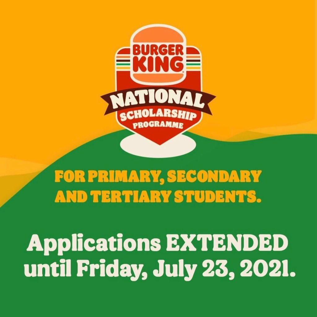 Apply for the Burger King Jamaica National Scholarship Programme for primary, secondary and tertiary students. All applications will be closed Friday, July 23, 2021.