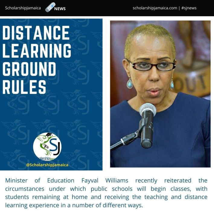 Minister of Education Fayval Williams outlined how the public schools will begin classes, with students remaining at home and receiving the teaching and learning experience in a number of different ways.
