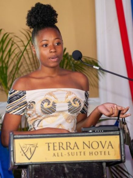 John Maxwell Youth Leadership Scholarship recipient, Kierra Mullings, of Pembroke Hall High School, speaks during the John Maxwell Live2Lead Conference at the Terra Nova All-Suite Hotel in St. Andrew, last November, at which the inaugural scholarship awardees for Jamaica were announced
