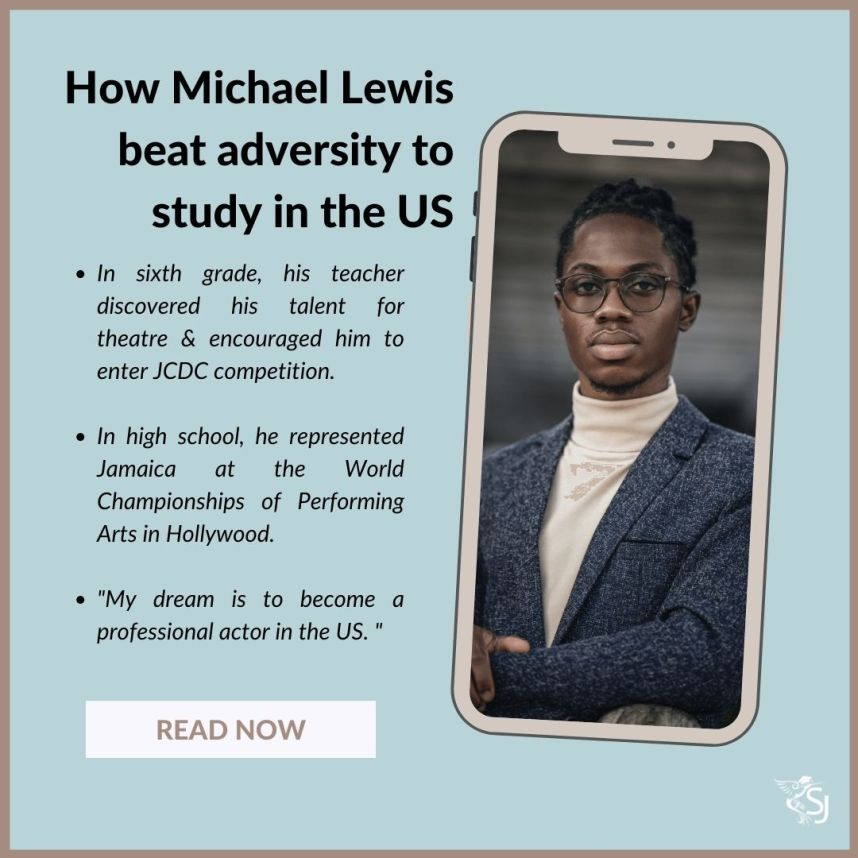How Michael Lewis - a Jamaican theatre major beat adversity to study in the US at the College of Albemarle.
