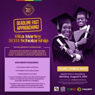 In honour of her 75th birthday, Rita Marley, cultural icon and founder of the Rita Marley Foundation, has announced the funding of the inaugural annual Rita Marley Scholarship.