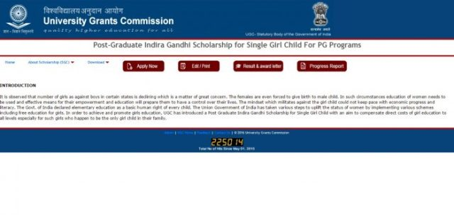 The proposed objectives of the Post-Graduate Indira Gandhi Scholarship scheme are Providing financial assistance to single girl child to pursue her education in post graduation (only non professional courses) and To make people realize the value of having a small family.