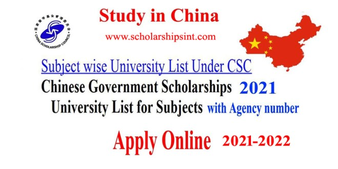 Subject wise list of Chinese Universities Under CSC 2021-2022