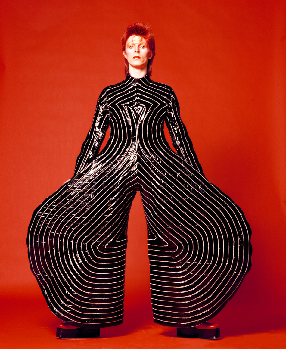 Striped bodysuit for Aladdin Sane tour 1973  Design by Kansai Yamamoto  Photograph by Masayoshi Sukita /Courtesy of The David Bowie Archive 2012
