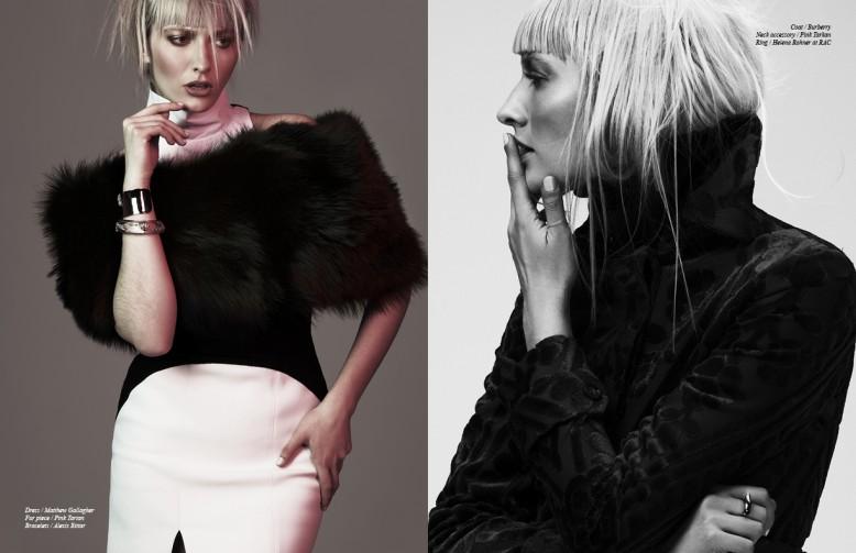 Dress / Matthew Gallagher  Fur piece / Pink Tartan Bracelets / Alexis Bittar Opposite Coat / Burberry  Neck accessory / Pink Tartan  Ring / Helena Rohner at RAC