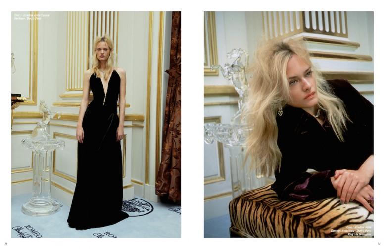 Dress / Azzedine Alaïa Couture  Necklace / Dary's Paris Opposite Coat / Azzedine Alaïa Earrings & necklace / Dary's Paris  Ring / de Grisogono